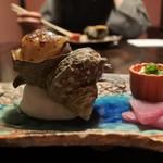 草菴 - 料理写真:サザエのネギ味噌焼き