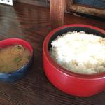 日本橋ビアホール - ご飯 味噌汁
