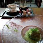 森の神話 - 湧水珈琲¥870と苔玉アイス(夏限定メニュー)¥1300