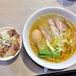 麺の風 祥気 - しおそば + 味玉 & 肉めし(2016年8月)