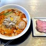 麺の風 祥気 - 鶏塩担々そば + レアちゃーしゅー + 味玉(2016年8月)