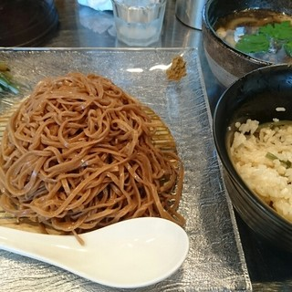 日の丸 さんじ - 料理写真:鴨つけそば+鴨出汁炊き込みご飯 1200円