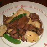 55276476 - ランプ肉とマコモダケの黒胡椒炒め