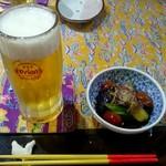 今帰仁城 - 料理写真:オリオン生ビール:600円、お通し