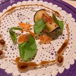 SALONE 2007 - 発想:茄子のマリネとカンパチ、チョコレートソース