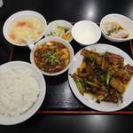 55340948 - リアル回鍋肉定食+ミニ麻婆豆腐