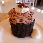 ブルー チューリップ - ダブル チョコレート カップケーキ(\336-)