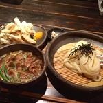 山元麺蔵 - 牛のホルモンのつけ麺、土ゴボウ天ぷら