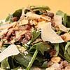 はじめの一っぽ - 料理写真:砂肝、豚耳、軟骨とほうれん草のサラダ 温アンチョビソース
