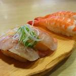 沼津魚がし鮨  - 金目鯛炙り(430円)、ゆで海老(270円)