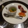 Restaurante LA FUENTE - 料理写真:2016.09 お口取り:サワラ、ウニ、白桃、コンソメのジュレとイベリコ豚の生ハム