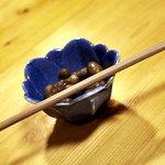 ぽん太 - 料理・お通し(箸の色が黒っぽい!?)