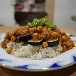 CAFE すずなり - ひよこ豆とたっぷり野菜のキーマカレー 上から。