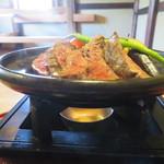 粟 - 大和牛の陶板焼き