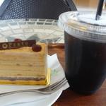 Prato - ケーキセット(宮崎米ときなこのケーキ+アイスコーヒー)