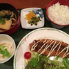 呑ん太 - 料理写真:(限定10食)長州鶏ささみチーズカツ定食(ハーフ冷うどん、小鉢、白飯、漬物 付き)