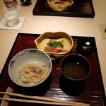 銀座 喰い切りひら山 - 食事は土鍋ご飯と糸瓜の赤出汁と漬物