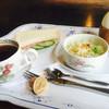 エビアン - 料理写真:ブレンドコーヒー380円とソフトサラミの焼きサンドの日替わりモーニング