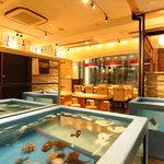 日本橋イカセンター - 入り口のイケスにはイカのほかにも色々泳いでいます。