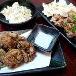 彩 - 唐揚げとポテトサラダ、地鶏の炭火焼き~☆