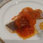 56139883 - 白身魚のオーブン焼き 香草入りトマトフォンデュソース