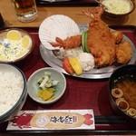 海老どて食堂 - 海老フライ、開き海老フライ、帆立フライ3種食べ比べ定食 2030円