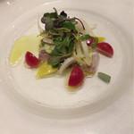 56385698 - 本日の鮮魚のカルパッチョ春の彩り野菜を添えて