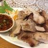 マノーラ - 料理写真:ムーヤーン(焼き豚)です。ピリ辛のたれに付けて食べるのですが、ビールのおつまみに最適です^^