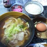 マウント フジ - 料理写真:肉うどん(温)&卵かけごはん