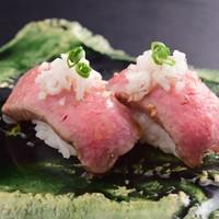 ②飛騨牛ローストビーフの握り寿司 ~2貫~