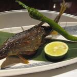 京懐石 美濃吉 - 旬菜(選択):子持ち鮎塩焼