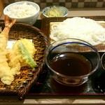 うどん鉢 - 天ざるうどん1200円と季節のご飯(さつまいもご飯)100円
