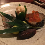 56831217 - 秋刀魚梅煮、秋茄子旨煮と新物いくら、ゆべし、天然鮎白子うるか、炒り銀杏