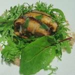 56985548 - 新潟産 八色椎茸をタルト仕立てに ラルドの薄いベールで覆って