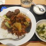 福臨門 - 青菜と豚肉の醤油煮込み丼 ¥600-