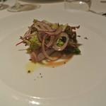 リストランテ テルツィーナ - 料理写真:ブリのクルード トロペア産赤玉葱とバーニャフレッダ