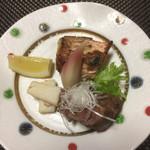 松濤館 - 興津鯛若狭焼き 檸檬 茗荷、長芋胡麻和え、牛フィレステーキ