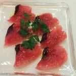 57232920 - 小皿盛合せ6品2,100円x2+税(2人分)その1神奈川佐島産カツオカルパッチョ