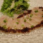 さいごー家 - 料理写真:カルパッチョ 島らっきょうと汐昆布のソース