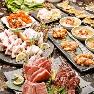 希少虎マッコリ付/名物極厚牛タン&炙り肉寿司,焼肉堪能コース