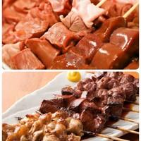 新鮮、朝引き豚使用のもつ串焼き各種