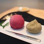 餅匠 しづく - フランボワーズ大福 & 栗茶巾☆