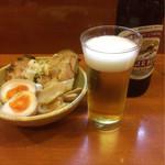 めん 和正 - おつまみ三点盛りとビール