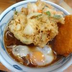 加賀 - かき揚げ玉子そば&野菜コロッケです