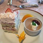 かじ池亭 - ケーキカットとデザート。甘過ぎず完食。