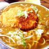 桑野屋 - 料理写真:希少カレーで作ってもらったカレー蕎麦✨ そこへ甘辛ダレのカツをドーン