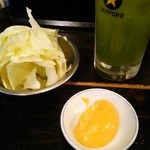 君津北口の串屋横丁 - お通しのキャベツ(美味くておかわりしちゃいました)