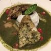 カフェ ジンク - 料理写真:「黒かじきのふっくらエクストラ・ヴァージンオイル揚げにスペイン産ポルチーニ茸の手づくりバジルソースカレー」1,600円
