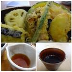 麦衛門 - ◆天ぷらは「かぼちゃ」「しめじ」「インゲン」「蓮根」「茄子」「玉葱」など。 頃は薄くカラッと揚がっています。