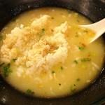 鳥料理 有明 - 軍鶏出汁炊飯投入ポン酢かけ